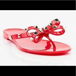 Jelly flip flops with studs